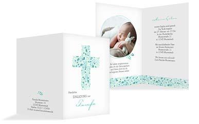 Geburtskarten24-Taufkarte-Blumenkreuz